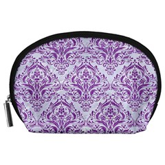 DAMASK1 WHITE MARBLE & PURPLE DENIM (R) Accessory Pouches (Large)