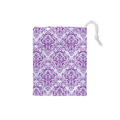 DAMASK1 WHITE MARBLE & PURPLE DENIM (R) Drawstring Pouches (Small)
