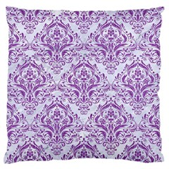 Damask1 White Marble & Purple Denim (r) Large Flano Cushion Case (one Side) by trendistuff