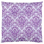 DAMASK1 WHITE MARBLE & PURPLE DENIM (R) Large Flano Cushion Case (One Side) Front