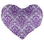 DAMASK1 WHITE MARBLE & PURPLE DENIM (R) Large 19  Premium Flano Heart Shape Cushions Front