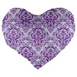 DAMASK1 WHITE MARBLE & PURPLE DENIM (R) Large 19  Premium Flano Heart Shape Cushions Back