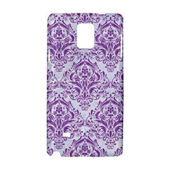 Damask1 White Marble & Purple Denim (r) Samsung Galaxy Note 4 Hardshell Case by trendistuff