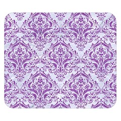 Damask1 White Marble & Purple Denim (r) Double Sided Flano Blanket (small)  by trendistuff