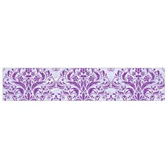 DAMASK1 WHITE MARBLE & PURPLE DENIM (R) Small Flano Scarf