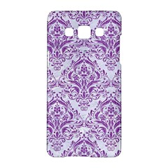 Damask1 White Marble & Purple Denim (r) Samsung Galaxy A5 Hardshell Case  by trendistuff