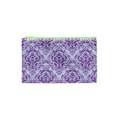 DAMASK1 WHITE MARBLE & PURPLE DENIM (R) Cosmetic Bag (XS)
