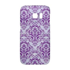 Damask1 White Marble & Purple Denim (r) Galaxy S6 Edge by trendistuff