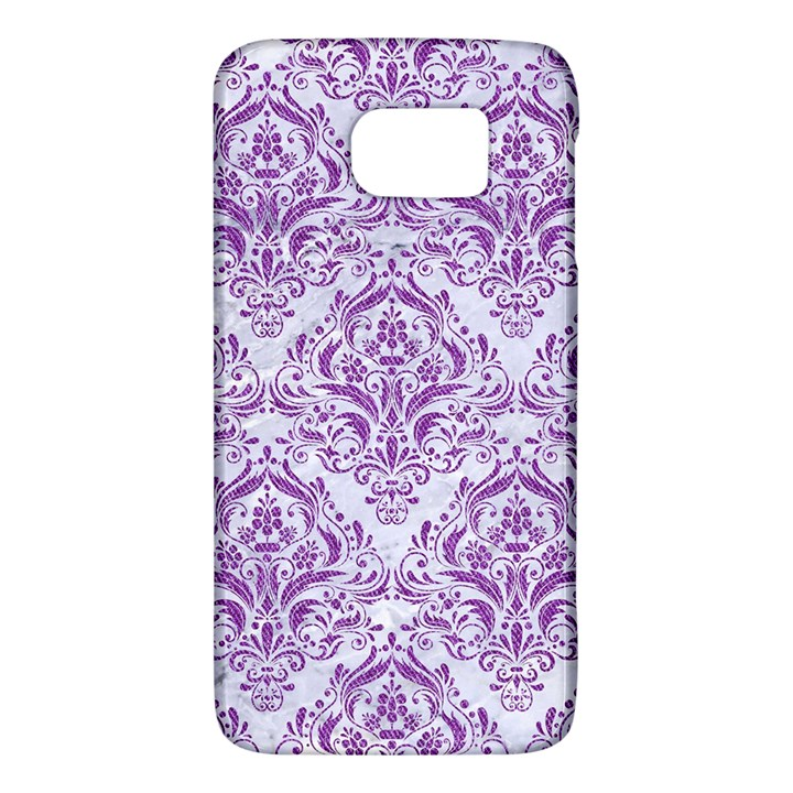 DAMASK1 WHITE MARBLE & PURPLE DENIM (R) Galaxy S6