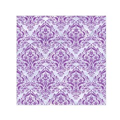 DAMASK1 WHITE MARBLE & PURPLE DENIM (R) Small Satin Scarf (Square)