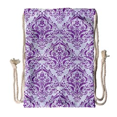 Damask1 White Marble & Purple Denim (r) Drawstring Bag (large) by trendistuff