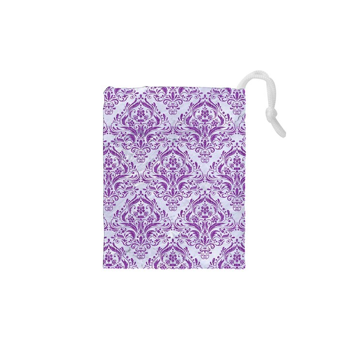 DAMASK1 WHITE MARBLE & PURPLE DENIM (R) Drawstring Pouches (XS)