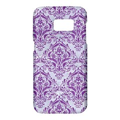 Damask1 White Marble & Purple Denim (r) Samsung Galaxy S7 Hardshell Case  by trendistuff