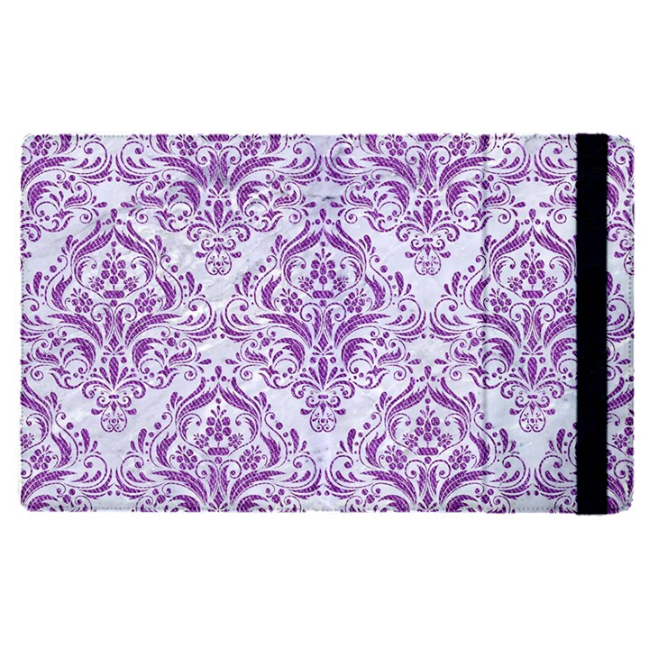 DAMASK1 WHITE MARBLE & PURPLE DENIM (R) Apple iPad Pro 12.9   Flip Case