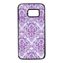 Damask1 White Marble & Purple Denim (r) Samsung Galaxy S7 Black Seamless Case by trendistuff