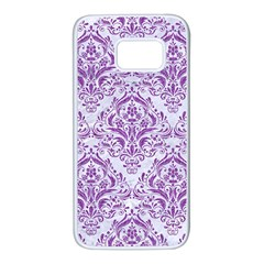 Damask1 White Marble & Purple Denim (r) Samsung Galaxy S7 White Seamless Case by trendistuff