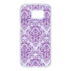 Damask1 White Marble & Purple Denim (r) Samsung Galaxy S7 Edge White Seamless Case by trendistuff