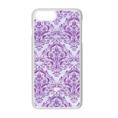 DAMASK1 WHITE MARBLE & PURPLE DENIM (R) Apple iPhone 7 Plus Seamless Case (White)
