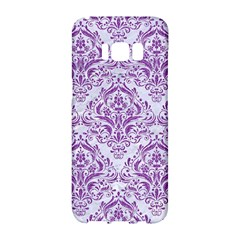 Damask1 White Marble & Purple Denim (r) Samsung Galaxy S8 Hardshell Case  by trendistuff