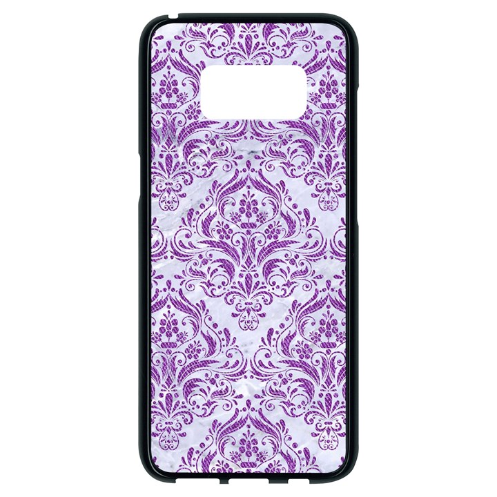 DAMASK1 WHITE MARBLE & PURPLE DENIM (R) Samsung Galaxy S8 Black Seamless Case
