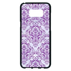 Damask1 White Marble & Purple Denim (r) Samsung Galaxy S8 Plus Black Seamless Case by trendistuff
