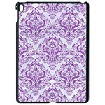 DAMASK1 WHITE MARBLE & PURPLE DENIM (R) Apple iPad Pro 9.7   Black Seamless Case Front