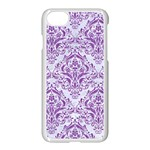 DAMASK1 WHITE MARBLE & PURPLE DENIM (R) Apple iPhone 8 Seamless Case (White) Front