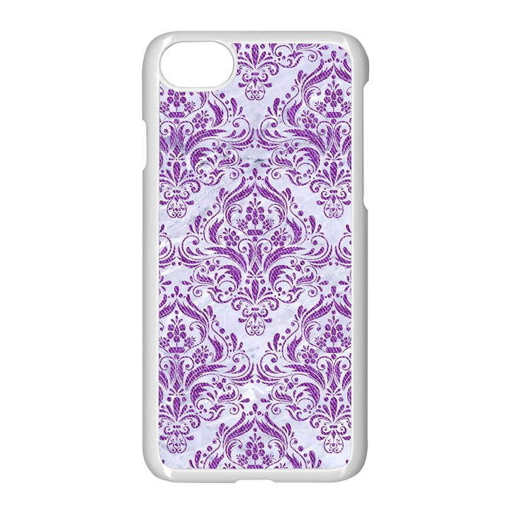 DAMASK1 WHITE MARBLE & PURPLE DENIM (R) Apple iPhone 8 Seamless Case (White)