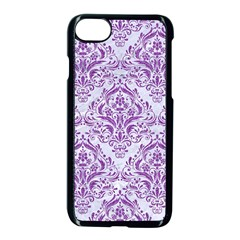 DAMASK1 WHITE MARBLE & PURPLE DENIM (R) Apple iPhone 8 Seamless Case (Black)