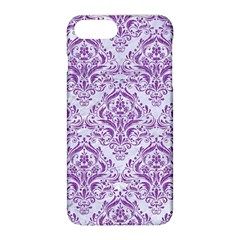 Damask1 White Marble & Purple Denim (r) Apple Iphone 8 Plus Hardshell Case by trendistuff