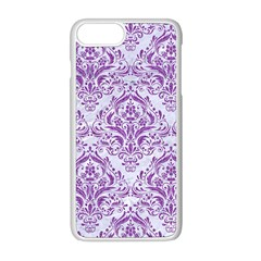 DAMASK1 WHITE MARBLE & PURPLE DENIM (R) Apple iPhone 8 Plus Seamless Case (White)