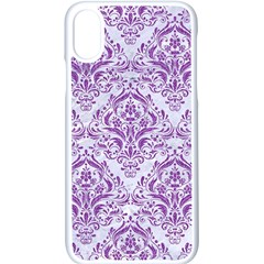 DAMASK1 WHITE MARBLE & PURPLE DENIM (R) Apple iPhone X Seamless Case (White)