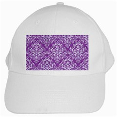 Damask1 White Marble & Purple Denim White Cap