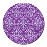 DAMASK1 WHITE MARBLE & PURPLE DENIM Round Mousepads Front
