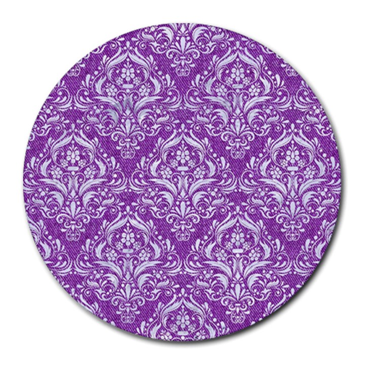 DAMASK1 WHITE MARBLE & PURPLE DENIM Round Mousepads