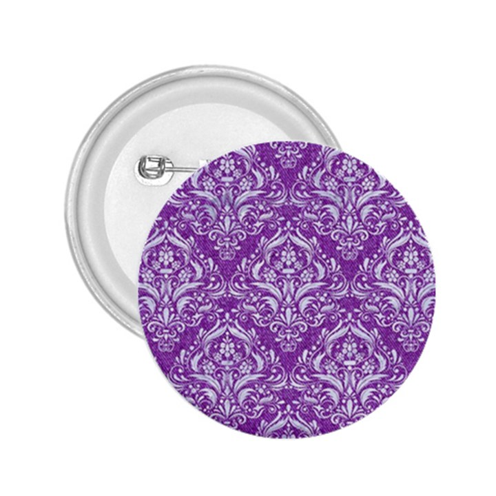 DAMASK1 WHITE MARBLE & PURPLE DENIM 2.25  Buttons