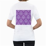 DAMASK1 WHITE MARBLE & PURPLE DENIM Women s T-Shirt (White) (Two Sided) Back