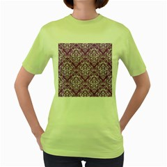 Damask1 White Marble & Purple Denim Women s Green T Shirt