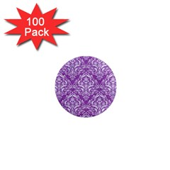 Damask1 White Marble & Purple Denim 1  Mini Magnets (100 Pack)  by trendistuff