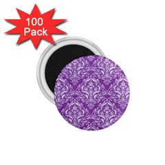 Damask1 White Marble & Purple Denim 1 75  Magnets (100 Pack)  by trendistuff
