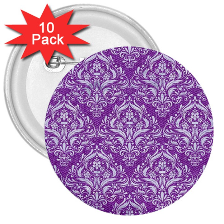 DAMASK1 WHITE MARBLE & PURPLE DENIM 3  Buttons (10 pack)