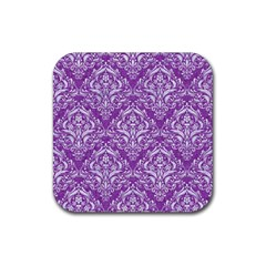 Damask1 White Marble & Purple Denim Rubber Square Coaster (4 Pack)  by trendistuff