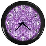 DAMASK1 WHITE MARBLE & PURPLE DENIM Wall Clocks (Black) Front