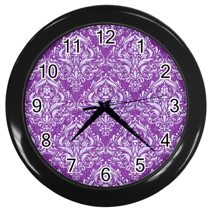 DAMASK1 WHITE MARBLE & PURPLE DENIM Wall Clocks (Black)