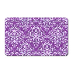 Damask1 White Marble & Purple Denim Magnet (rectangular) by trendistuff
