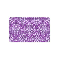 Damask1 White Marble & Purple Denim Magnet (name Card) by trendistuff