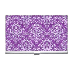 Damask1 White Marble & Purple Denim Business Card Holders by trendistuff