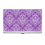 DAMASK1 WHITE MARBLE & PURPLE DENIM Business Card Holders Front