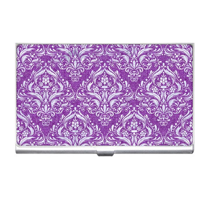 DAMASK1 WHITE MARBLE & PURPLE DENIM Business Card Holders