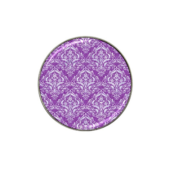 DAMASK1 WHITE MARBLE & PURPLE DENIM Hat Clip Ball Marker (10 pack)